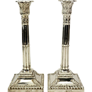 Pair of 18th Century English Silver Weighted Candlesticks. Hallmarked London, 1759, makers mark I.S. over I.B.