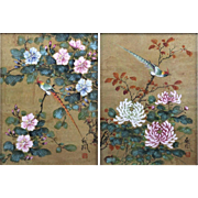 CHIU WENG (Chinese, 20th Century) - PAIR of Two Watercolor Paintings on Cork Paper - Birds On Matsu Branch - Signed and Seal Stamped