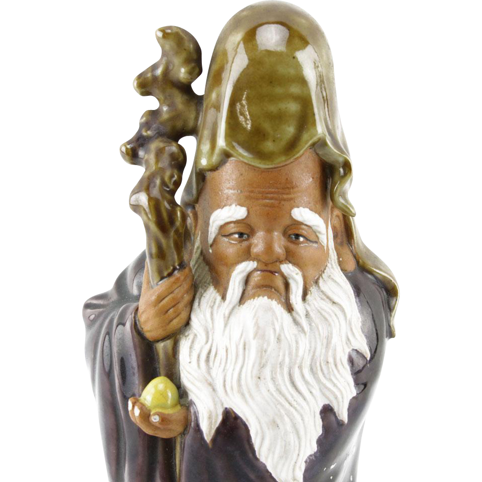 SHOU LAO XING - Ancient Chinese Taoist God Of Long Life And Luck, Holding The Peach Of Longevity - Glazed Pottery