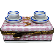 Limoges France PARRY VIEILLE Authentic Signed Petit Main Hand-Painted Trinket Box: Coffee Table With Cups, Saucers,Croissants and Spoon,
