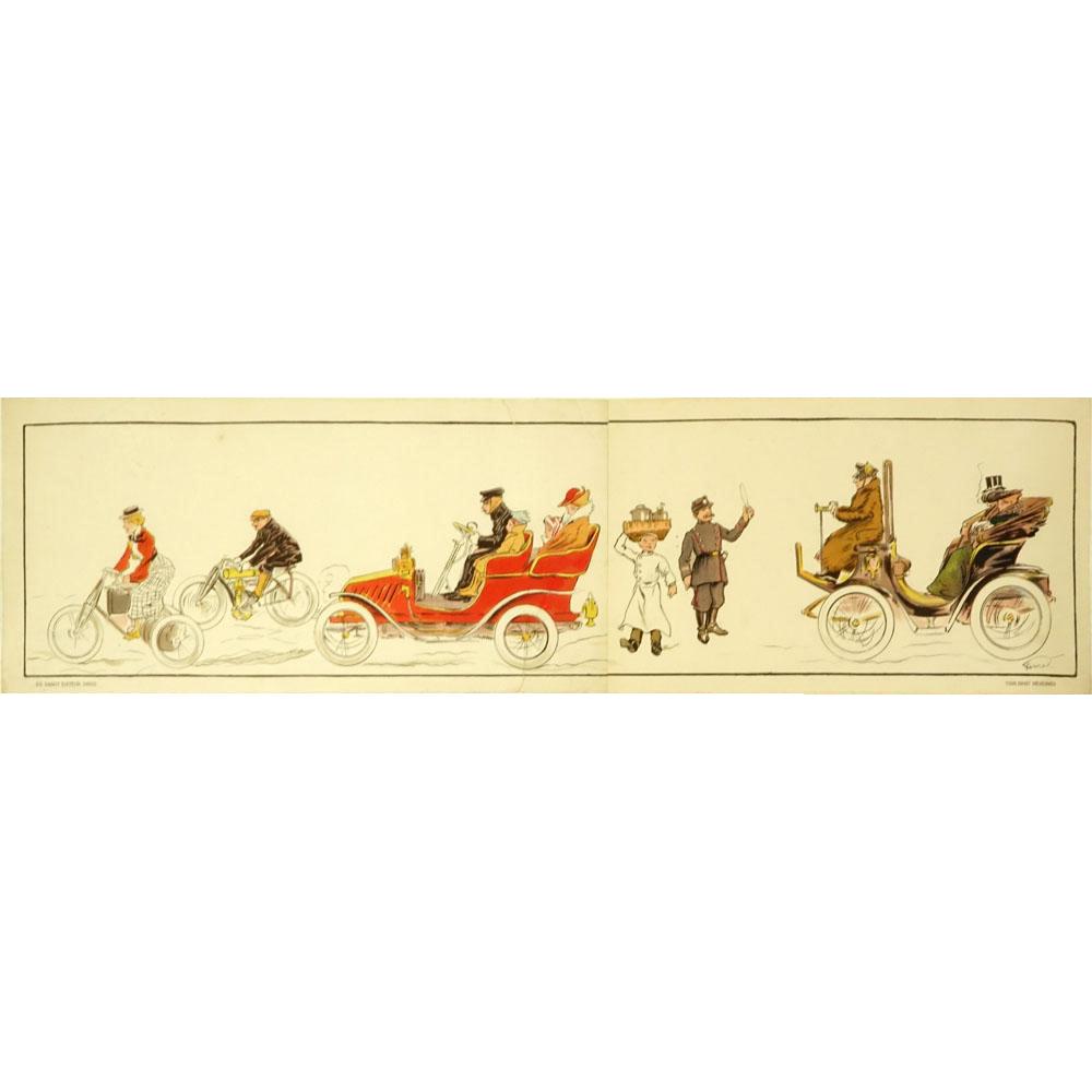 """FERNAND FERNEL (Belgian 1872-1934) -Art Deco Color Lithograph """"Tous Droit Reserves"""","""