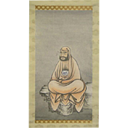 Antique Japanese Watercolor on Paper Of Daruma Set In Fabric Mounting as a Scroll