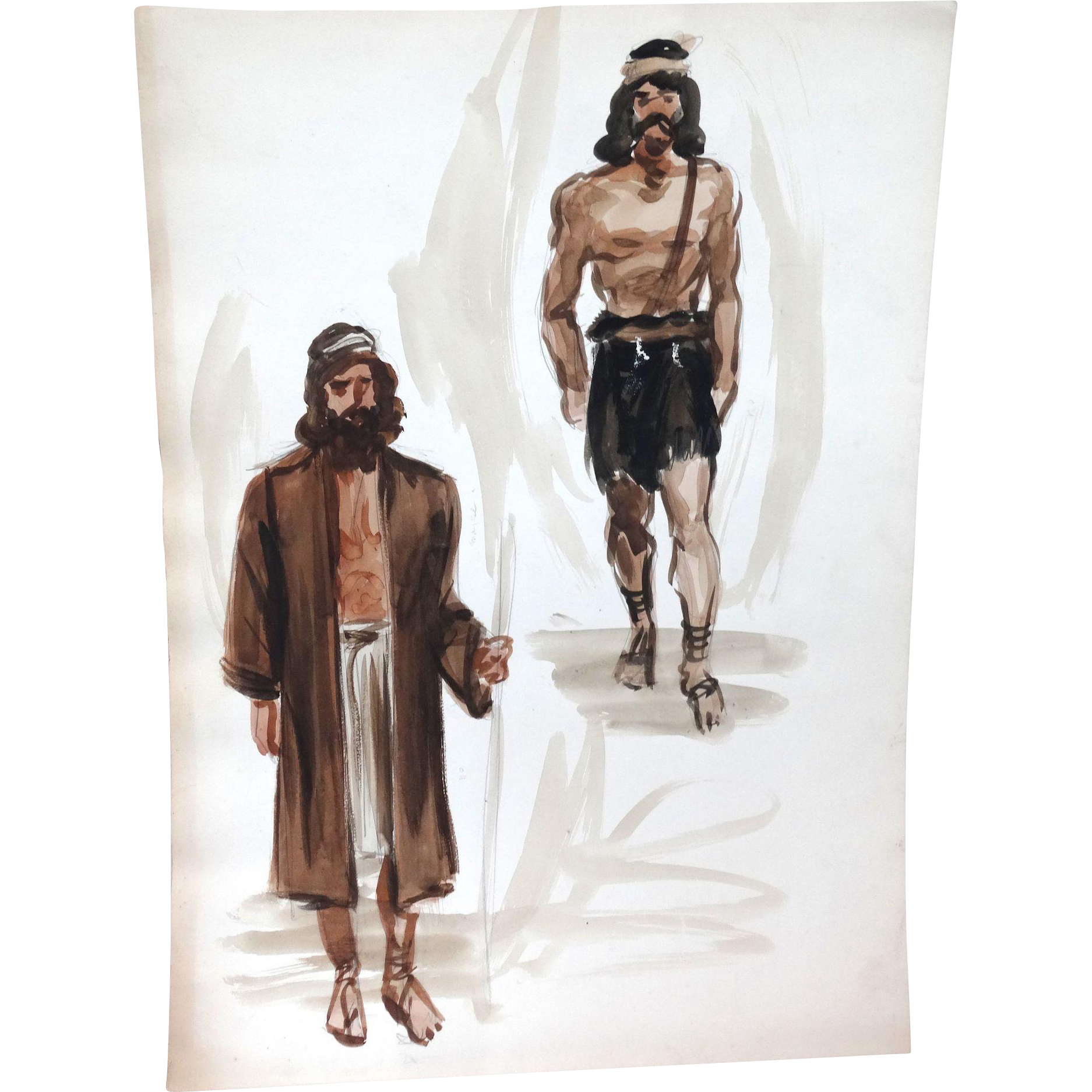 JEAN LOUIS (French/American 1907 - 1997) - Original Costume Sketch For Salome (Columbia, 1953)  - Alan Badel as John The Baptist - Mixed Media