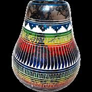 MARSHALENE BENNETT (Navajo 20th Century) -  Horsehair Pottery Vase