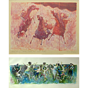 "DAVID BERGER (American 1920 - 1966) Grouping of Two Lithographs, Both Signed, ""Lots of People Dancing"" and ""Three Horses and Three Riders"""