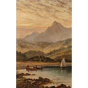 "ALBERT DUNNINGTON (British, 1860 - 1928) - Original Signed Oil On Canvas ""Brodick Bay at evening with Goatfell in the distance, Isle of Arran"" dated 1898"