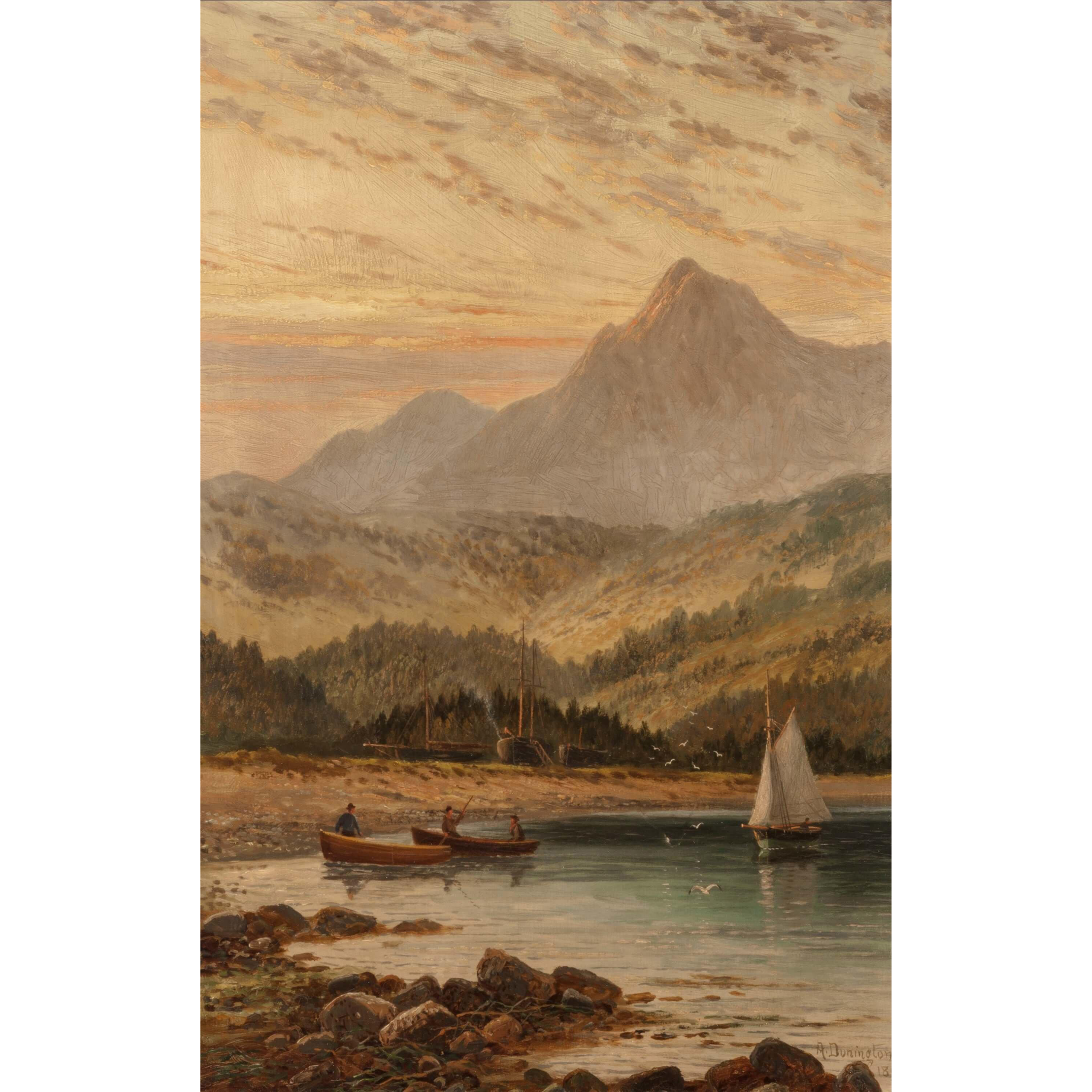 """ALBERT DUNNINGTON (British, 1860 - 1928) - Original Signed Oil On Canvas """"Brodick Bay at evening with Goatfell in the distance, Isle of Arran"""" dated 1898"""