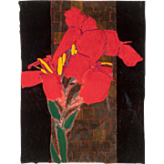 "ROBERT KUSHNER (American b. 1949) - Original Signed/Titled ""Red Canna"" Mixed Media On Paper"