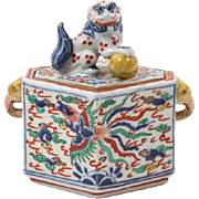 Ming Dynasty Wucai Porcelain Box With Cover, Fu Lion Finial, Dragon and Phoenix On Body, Elephant Head Handles, Six Character Wan Li Mark