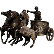 "Antique Miniature ""Ben Hur"" - Charioteer With Three Horses - Hallmarked"