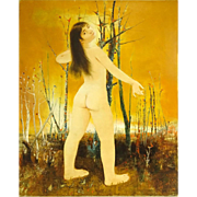 """PIERRE LAVARENNE (French, b. 1928) - Signed Original Oil On Canvas - """"A Nude Surprised"""""""