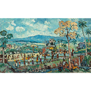 "PUTU PAGER (Balinese, b 1932) - Original Signed Oil On Canvas ""Going To Market"""