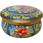 Halcyon Days Lush Floral Hand-Painted Enamel Trinket Box or Dresser Box