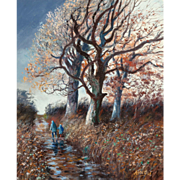 """PERE ARRIBAS (Spanish, 1924 - 1996) - """"Walking In Autumn"""" Original Signed Oil On Canvas"""