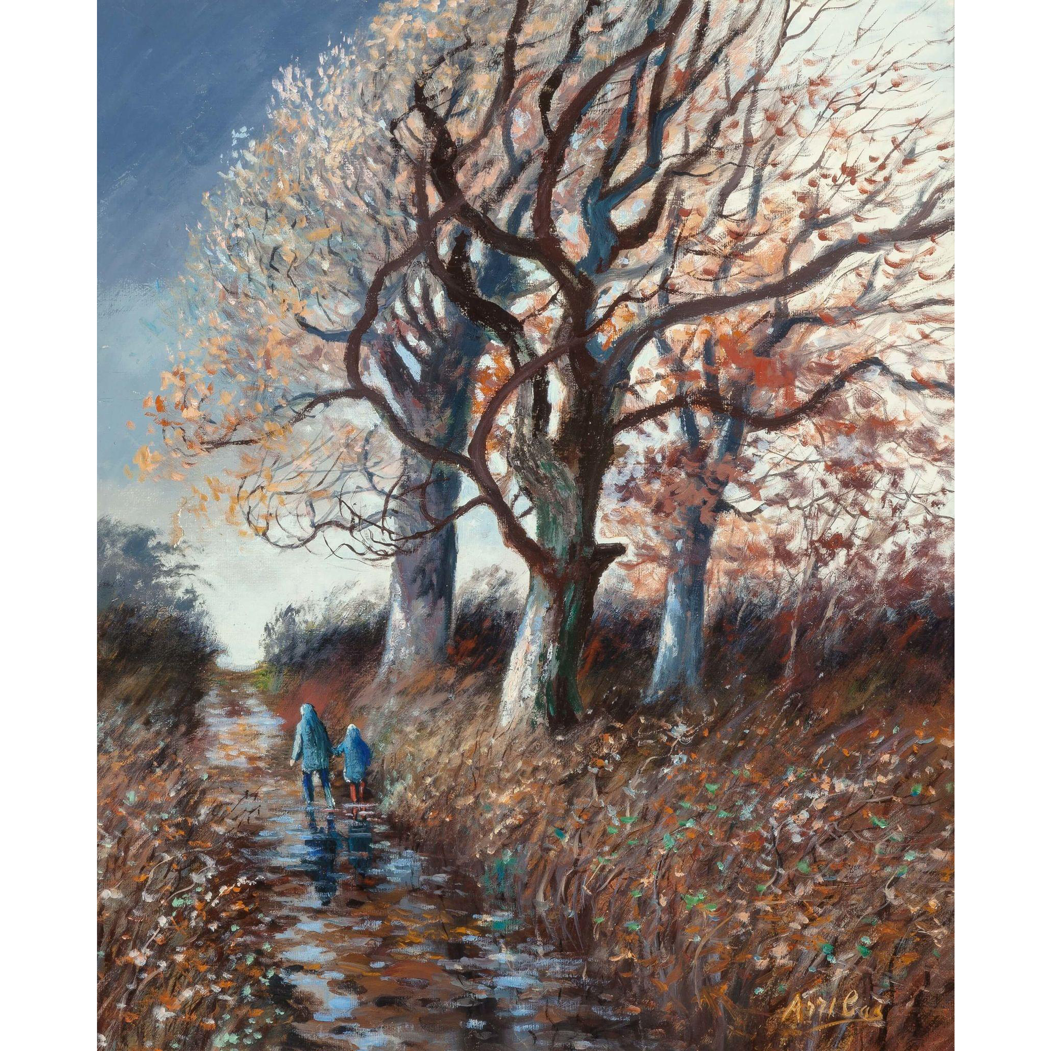 "PERE ARRIBAS (Spanish, 1924 - 1996) - ""Walking In Autumn"" Original Signed Oil On Canvas"