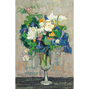 """GINETTE RAPP (French/American 1928 - 1998) - Original Signed Oil On Canvas - Still Life  """"Flowers In A Goblet"""""""