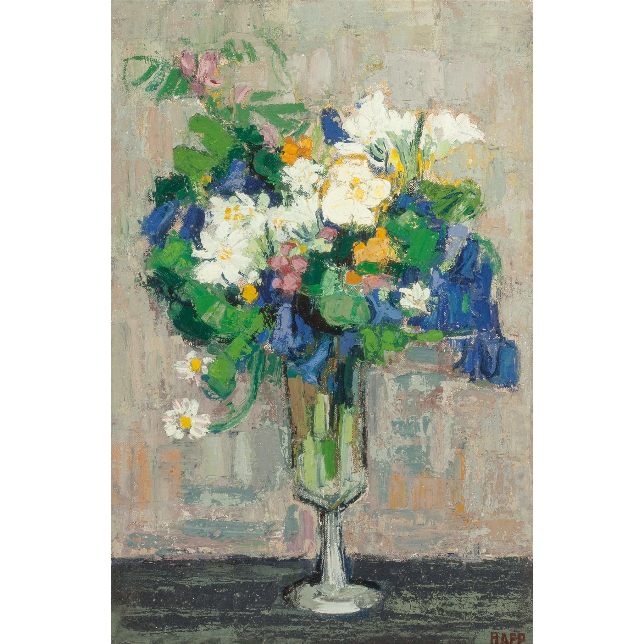 "GINETTE RAPP (French/American 1928 - 1998) - Original Signed Oil On Canvas - Still Life  ""Flowers In A Goblet"""