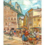 "EMIL RIZEK (Austrian 1901 - 1988) - ""Market Day"" Original Signed Oil On Canvas"