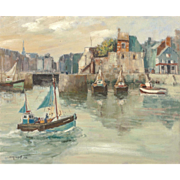 "JOHN CLAUDE QUINETTE (French, b. 1956) - ""Return To The Docks"" - Original Signed Oil On Canvas"