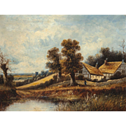19th Century Very Large Country Landscape With Cottages,    Signed Original Oil On Panel
