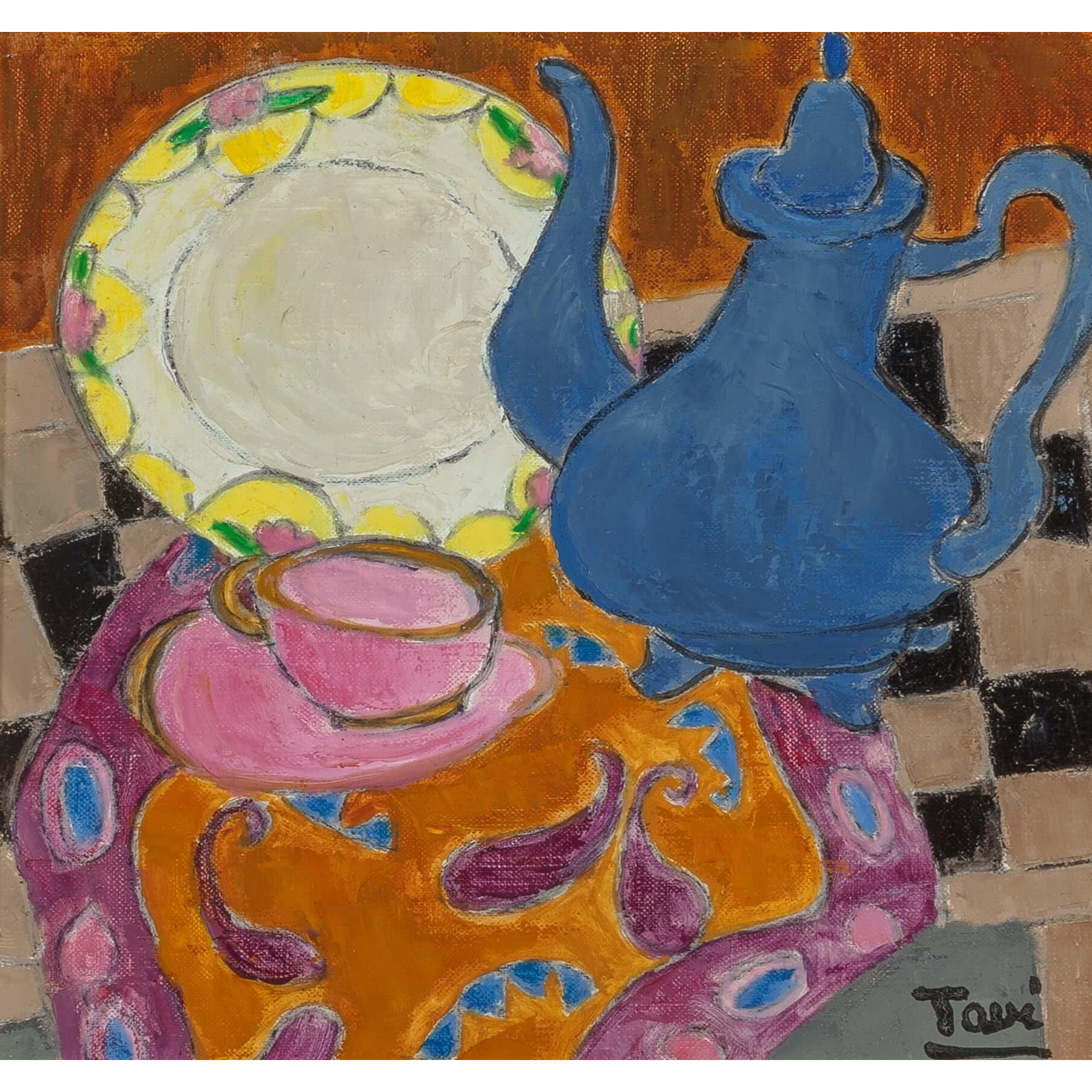 "GEORGETTE TAVE (French, 1925 - 2008) - Expressionist Original Signed Oil On Canvas ""Nature Morte a l'assiette Art Déco."""