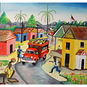 "Haitian School Signed Original Oil On Canvas ""Street Scene"""