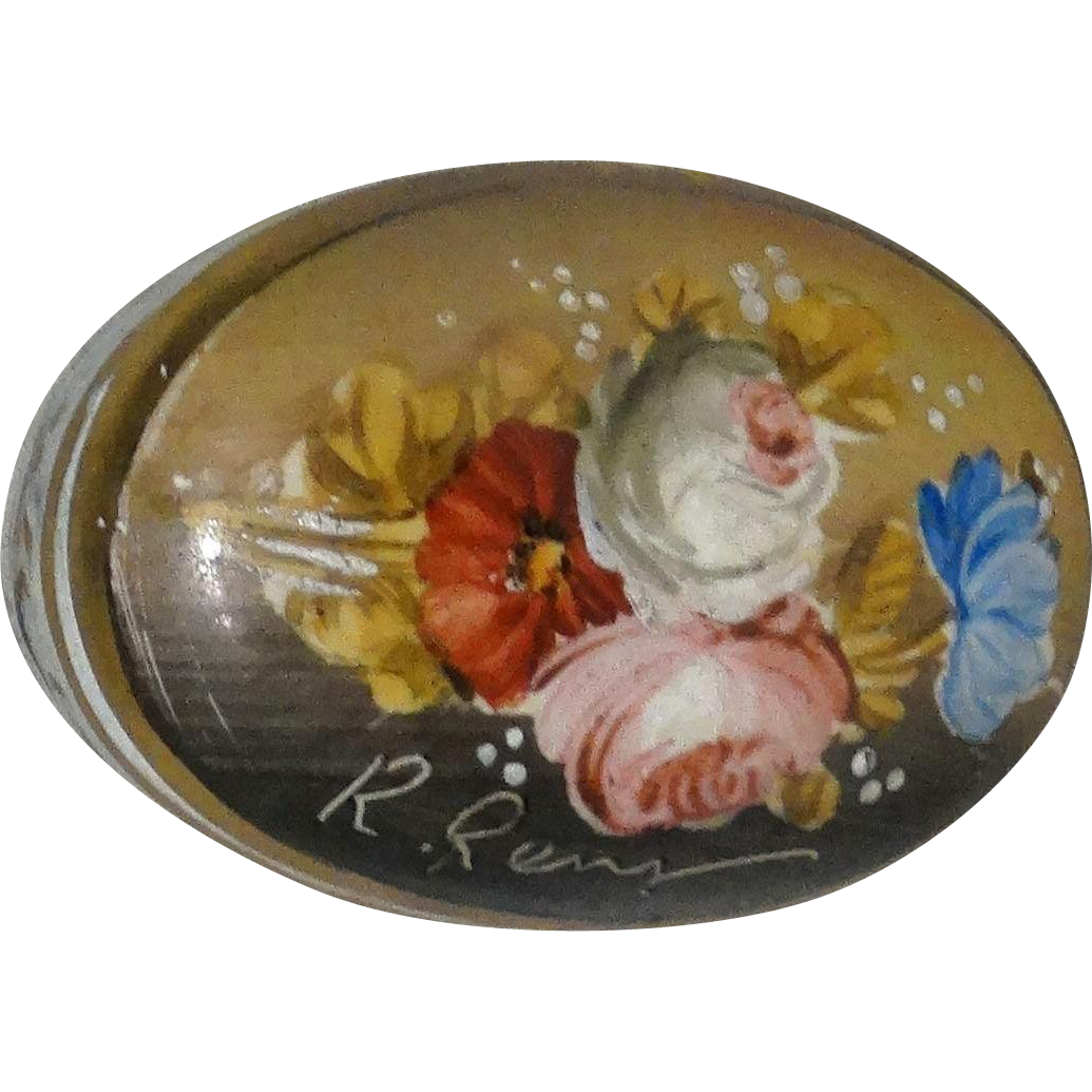 Lovely Artist-Signed Fiori Fiamminghi (Flemish School Flowers) Porcelain Trinket Box or Dresser Box