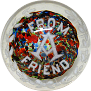 """From A Friend"" - Very Large Art Glass Paperweight - With Flowers In Reds, Blues, Greens!"