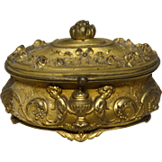 Hinged Metal Trinket Box or Dresser Box With Elaborate Scenes, Cherubs, Urns and Flowers In High Relief, Top And Bottom