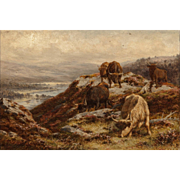 "ALFRED GREY (British, 1845 - 1926) Original Signed Oil On Canvas ""Cattle In The Hills"""