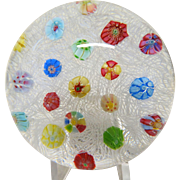 BACCARAT Scattered millefiori On Lace Paperweight, Signed