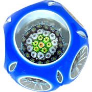 Large Close Packed Millefiori Double Overlay Faceted Art Glass Paperweight, Simply Exquisite!