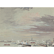 "JOSEPH PENNELL (American, 1857 - 1926) - Original Signed Watercolor ""The Harbor and The Statue Of Liberty"""