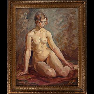 "VINCENT NESBERT (Polish/American, 1898-1976) - Original Signed Oil - ""Female Nude"""