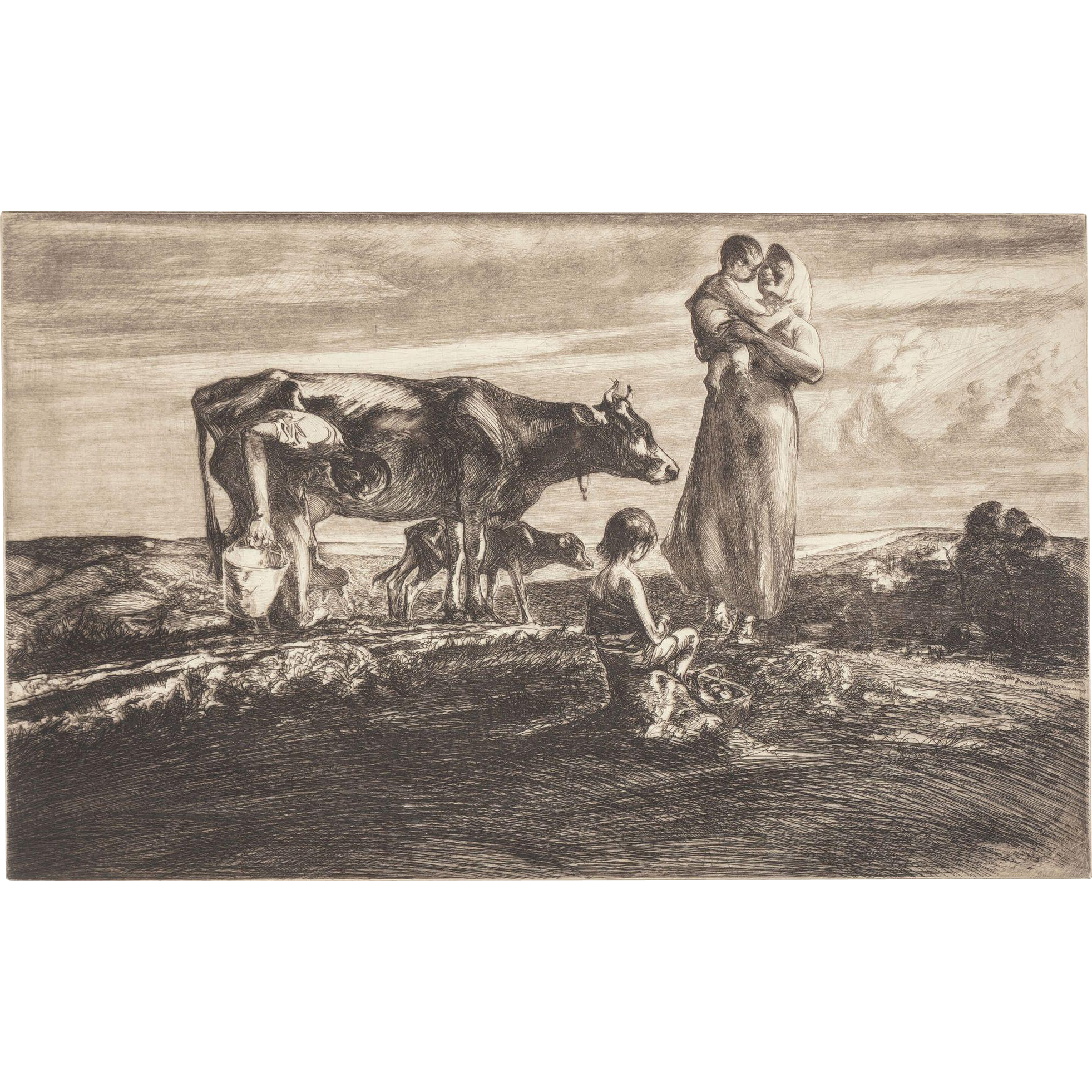 """JOHN E. COSTIGAN  (American, 1888-1972) - Signed Limited Edition Etching """"Figures With Cow"""""""