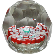 Multi-Faceted (28 Facets) Close Packed Millefiori Paperweight