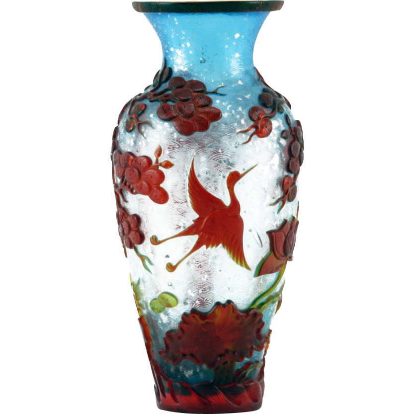 Antique Chinese Peking Glass Cameo Vase - Blue Iridescent ...
