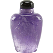 Nicely Carved Amethyst Snuff Bottle, Lovely Color!