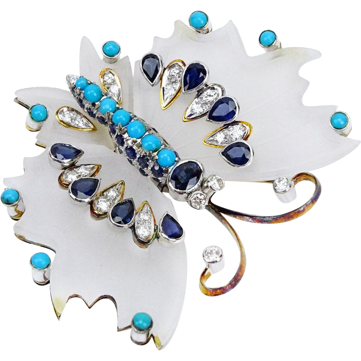 Approx. 4.0 Carat Pear Shape Sapphire, Round Brilliant Cut Diamond, Turquoise, Carved Rock Crystal and 14 Karat Yellow Gold Butterfly Brooch. High quality stones throughout. Signed.