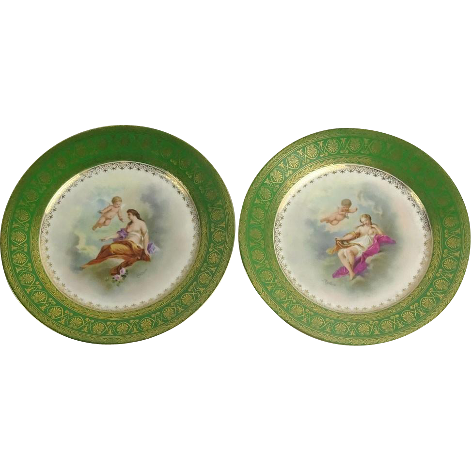 PAIR of Antique Crown China Austria Hand-Painted Porcelain Plates, Signed.