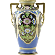 Japanese Hand-Painted Gilt Nippon Vase With Handles, Lovely Flower Motif and Gilt Scrolling On Black andBlue Ground.
