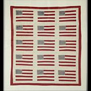 American Flag Quilt,  Circa 1900
