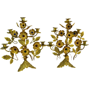 Pair of Antique French Jeweled Bronze/Brass Candelabra With Lovely Floral Motif, Each With Five (5) Lights.