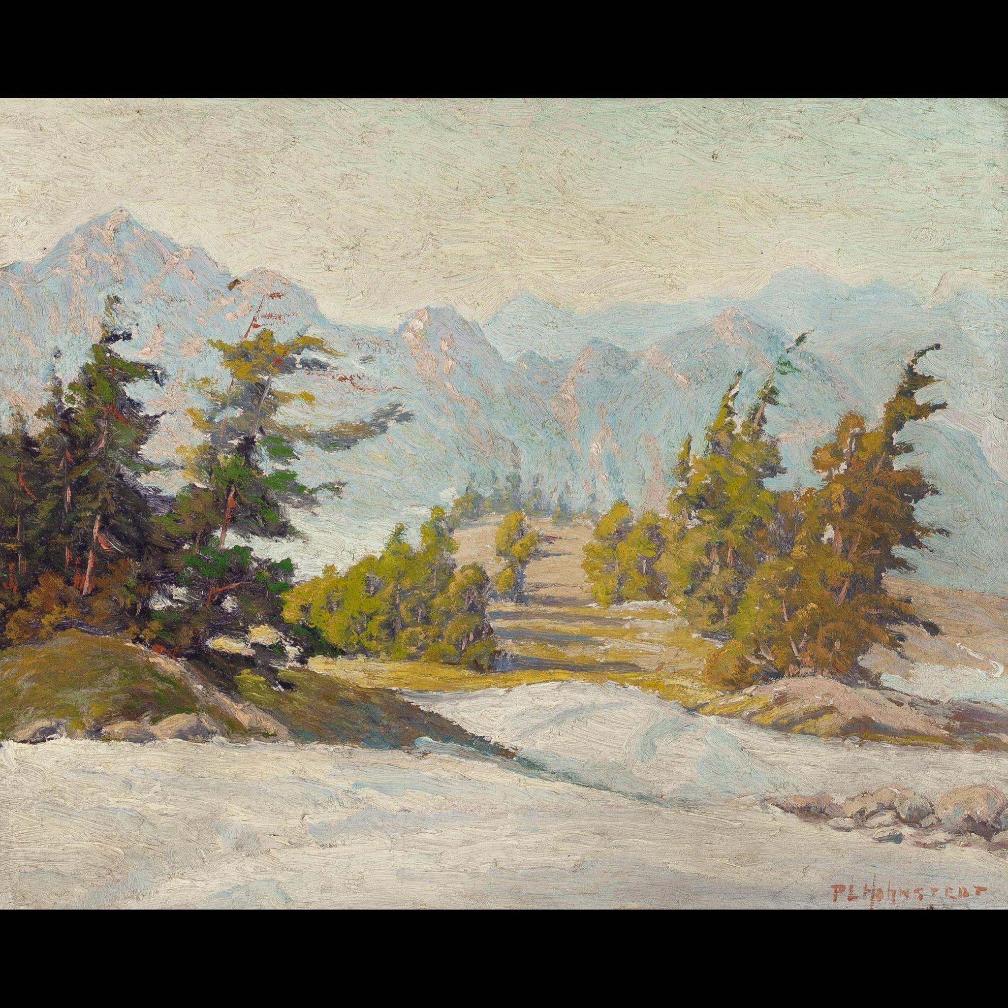 "PETER LANZ HOHNSTEDT (American, 1872 - 1957) Original Signed Oil ""Winter Scene"""