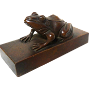 Bronze Frog on Hardstone Base Paperweight