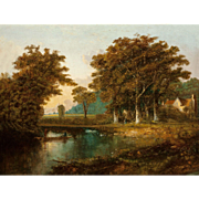 19th Century Continental School Landscape With Fishermen and Cottage, Large Original Oil On Canvas.
