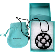 Paloma Picasso, Tiffany and Co., Signed Large Black Zellige Pendant With 925 Sterling Short Chain And Black 'Rope' With Tiffany Pouch and Box -Truly Very Special