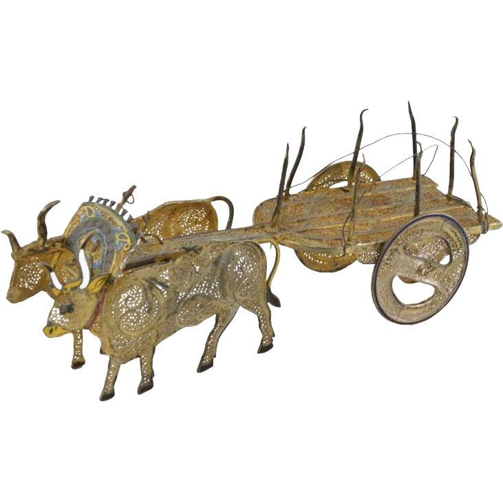 Miniature Sterling Silver Filigree and Enamel Guilloche Bull Drawn Cart or Wagon, Signed Topazio Portugal