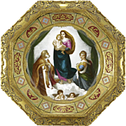 Mary Holding Baby Jesus With Wise Man and Woman Kneeling - Antique Dresden Gilt Hand Painted Porcelain Charger in Gilt Frame.