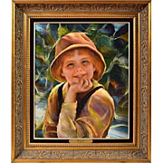 "FRANCISCO J.J.C. MASSERIA (Argentinian 1926 - 2002) - ""Sonriendo"" Portrait Of A Child - Original Signed Oil on Canvas"